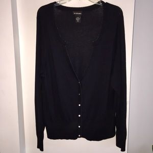 Lane Bryant Black Cardigan Sparkle Edge